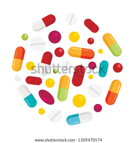 Healthy pharmaceutical elements in circle shape white background. Vector icons of drugs, long tablets and round pillsisolated. Flat drug pill and tablet, illustration of pharmaceutical capsule and tab