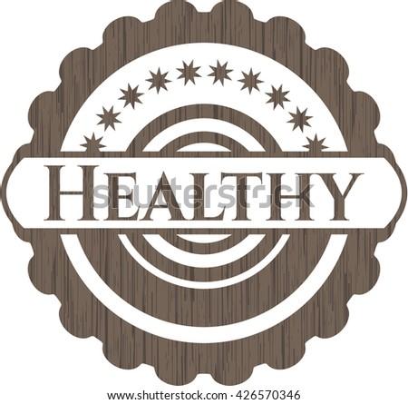 Healthy realistic wooden emblem