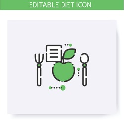 Healthy recipe line icon. Dietary cuisine. Diet. Weight loss. Portion control. Healthy eating. Dietary nutrition. Calorie count. Slimming concept. Isolated vector illustration. Editable stroke