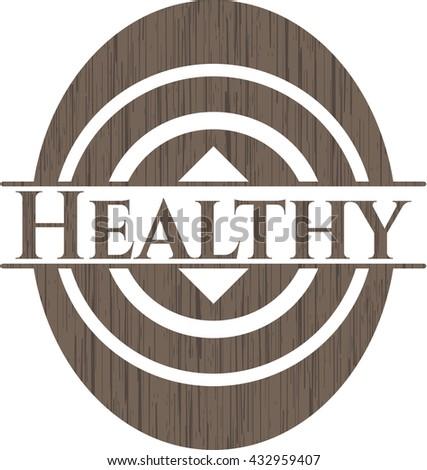 Healthy retro style wood emblem