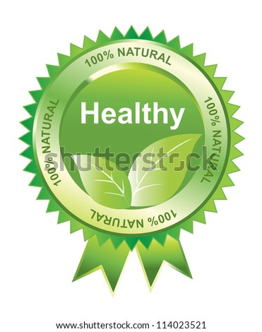 Healthy seal of 100% natural, vector illustration