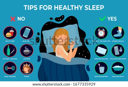 Healthy sleep rules. Healthy night sleep tips, good habits and peacefully sleeping girl vector infographics illustration. Tips and rule for bedtime sleep against insomnia