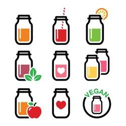 Healthy smoothie drink, juice in jar icons set