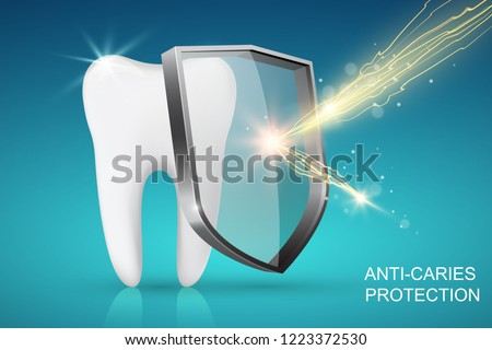 Healthy tooth and glass shield with lightning, anti-caries protection concept Сток-фото ©