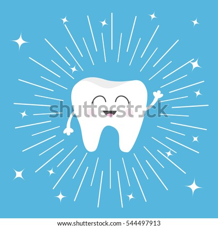 Healthy tooth icon. Smiling face. Round line circle. Oral dental hygiene. Children teeth care. Shining effect stars. Blue background. Flat design. Vector