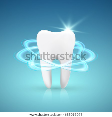 Healthy Tooth Under Protection, Teeth Whitening, glowing effect, vector illustration