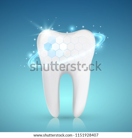 Healthy tooth with glowing effect, teeth whitening concept