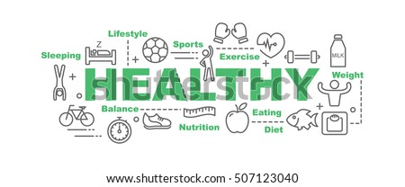 healthy vector banner design concept, flat style with thin line art healthy lifestyle icons on white background