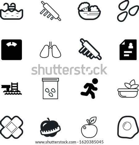 healthy vector icon set such as: diagnosis, biology, cook, balance, fried, patient, abstract, heal, sweet, floor, protection, measure, pain, relaxation, delicious, cover, adhesive, running, green