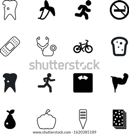 healthy vector icon set such as: image, doctor, retro, bad, scale, training, control, pictogram, scales, patch, pumpkin, toast, aid, bike, harvest, spring, cigarette, diagnosis, strength, muscular