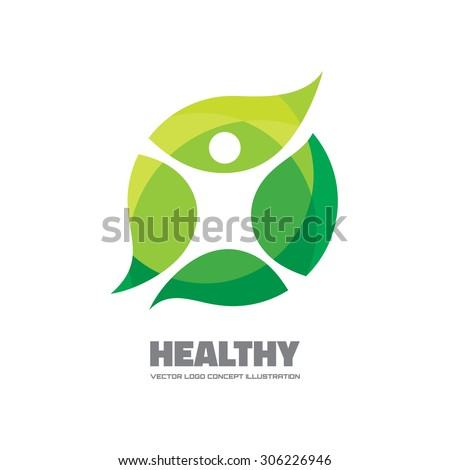 Healthy - vector logo template illustration. Man figure on leaves. Ecological and biological product concept sign. Ecology symbol. Human character icon.