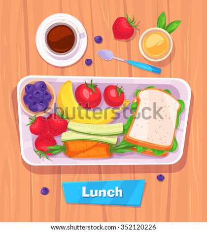 Healthy vector lunch with banana. berries, sandwich, coffee and juice. View from above on stylish wooden table with copy space. Vector stock illustration.