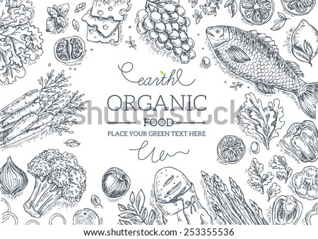 Healthy Vegetables Frame. Linear graphic. Vector illustration #253355536