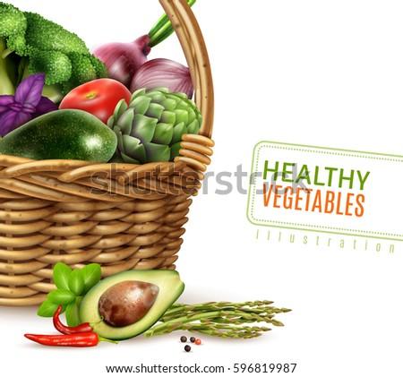 healthy vegetables in basket
