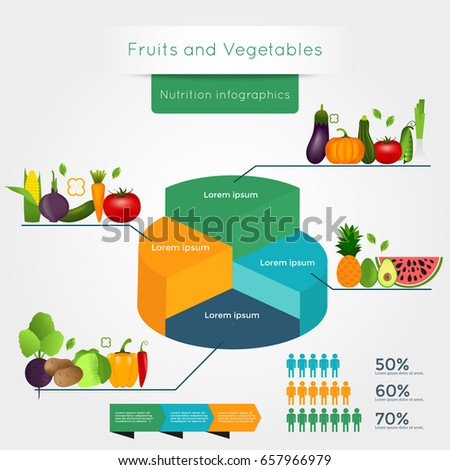 Healthy vegetables infographics with chart and graph. Quality vector illustration about diet, eco food, benefits of vegan and nutrition concept.