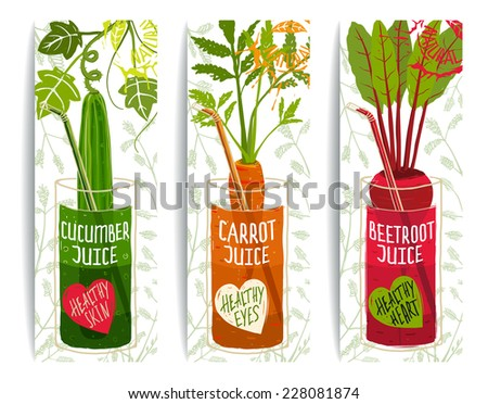 Healthy Vegetables Juices Design Collection on White with Signs and Stamps Brightly colored vegetables for healthy diet Layered vector EPS8
