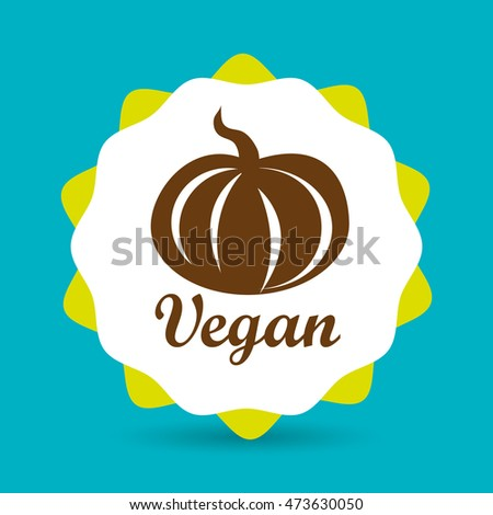 healthy vegetarian food label isolated icon design, vector illustration  graphic