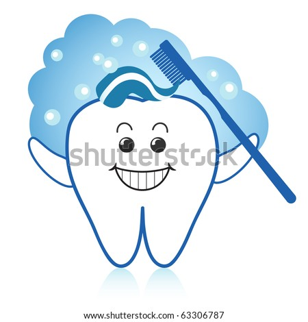 Healthy white tooth brushing itself with toothpaste and toothbrush.