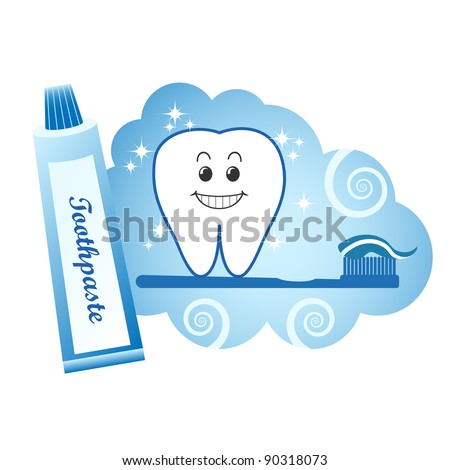 Healthy white tooth with toothpaste and toothbrush.