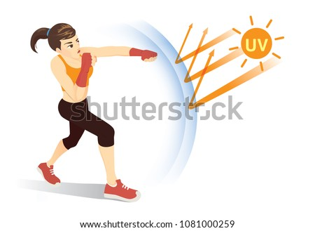 healthy woman reflect uv ray