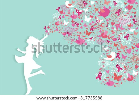 healthy woman silhouette pink