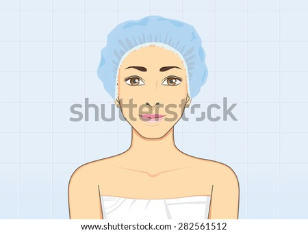 Healthy woman Smiling wearing a shower cap in bathroom for protect wet hair with bath, hygiene concept