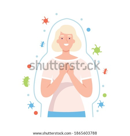 Healthy Woman Surrounded by Invisible Barrier for Bacterial Attack Vector Illustration