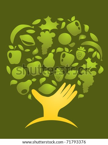 healthy world. hand holding fruits on green background - stock vector