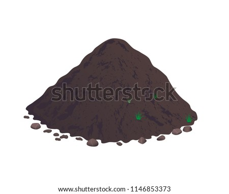 Heap of earth, heap of soil. Vector illustration on white background.