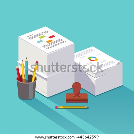 Heap of research documents. Two stacked paper piles accompanied by official stamp, pens and pencils. Bureaucracy concept. Flat style vector illustration.
