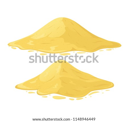 Heap of sand on white background. Set of sand mountains.