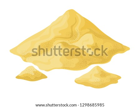 Heap of sand. Sands mound vector illustration, desert or beach dune isolated on white background