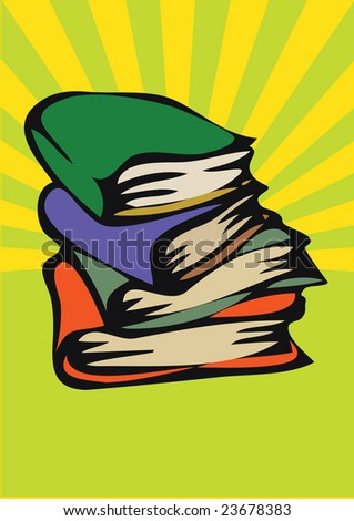 heap of the books. vector illustration