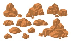 Heaps of rock stones set. Piles of massive brown boulders and cobbles isolated on blue background. Flat vector illustration for mountains, granite, rough mineral concept