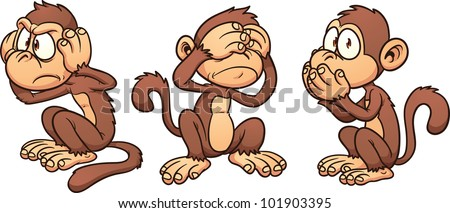 Hear no evil, see no evil,speak no evil cartoon monkeys. Vector illustration with simple gradients. Each in a separate layer for easy editing.