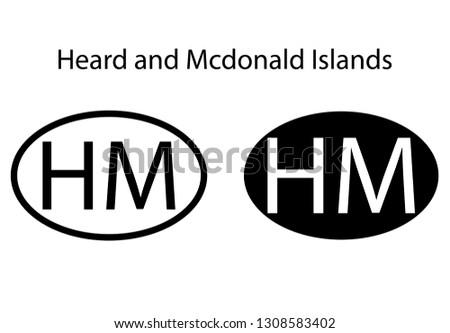Heard and Mcdonald Islands country code icon.  Iso code country domain name.  HM - Heard and Mcdonald Islands abbreviated. vector