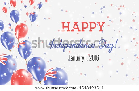 Heard and McDonald Islands Independence Day Greeting Card. Flying Balloons in Heard and McDonald Islands National Colors. Happy Independence Day Heard and McDonald Islands Vector Illustration.