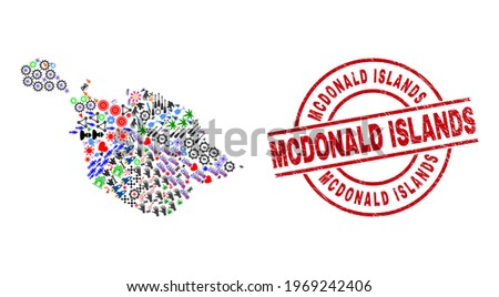 Heard and McDonald Islands map mosaic and textured Mcdonald Islands red circle watermark. Mcdonald Islands stamp uses vector lines and arcs. Heard and McDonald Islands map mosaic contains helmets,