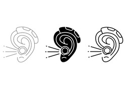 Hearing amplifier. Acoustic sound enhancer in outline and glyph style. Hearing loss therapy. Amplification, assistive listening medical device. Editable stroke. Vector