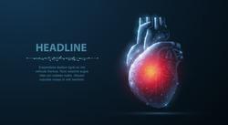 Heart. Abstract 3d vector human heart isolated on blue. Anatomy, cardiology medicine, organ health, medical science, life healthcare, cardio illness concept illustration or background