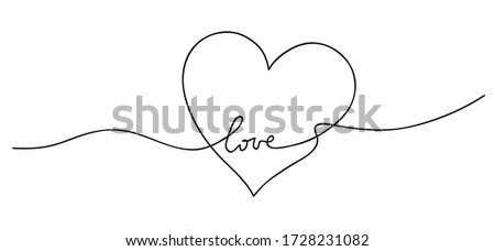 Heart. Abstract love symbol. Continuous line art drawing vector illustration. stock photo