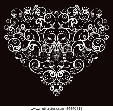 Heart, abstract pattern on a black background