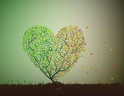 heart age disease concept,  tree looks like heart creating from leaves some of them change the color and falling, age problem with heart looks like two season on one tree, vector