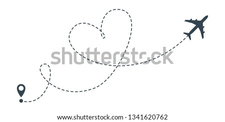 Heart airplane travel route line for romantic journey concept. Dashed  love   heart flight route