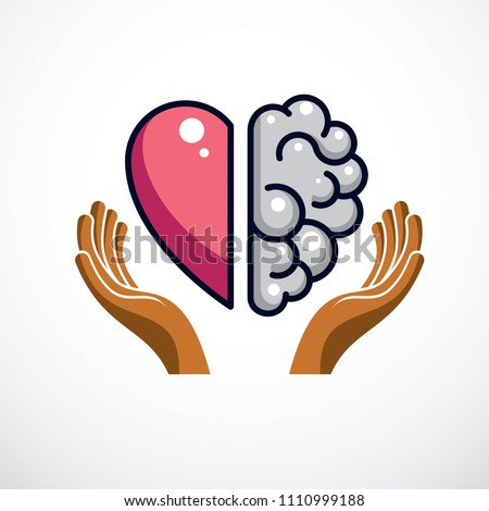 Heart and Brain concept, conflict between emotions and rational thinking, teamwork and balance between soul and intelligence. Vector logo or icon design. - Shutterstock ID 1110999188