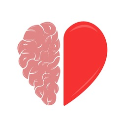 Heart and Brain concept. Emotional Quotient and Intelligence. Icon and logo. Emotions and rational thinking. Balance between soul and intellect. Vector illustration.