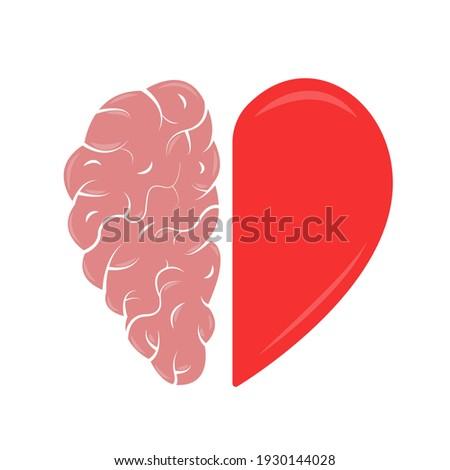 Heart and Brain concept. Emotional Quotient and Intelligence. Icon and logo. Emotions and rational thinking. Balance between soul and intellect. Vector illustration. Photo stock ©