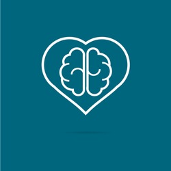 heart and brain concept stock vector