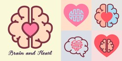 Heart and brain, Emotions and logic concept.