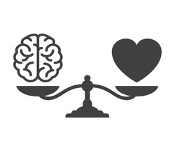 Heart and brain on a balance icon. Comparison between reason and feeling – stock vector